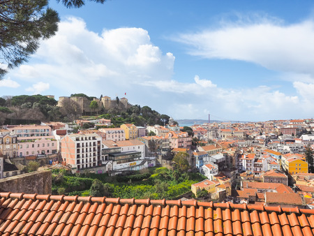 Panorama of Lisbon, Portugal, and the castle castelo Sao Jorge with copyspace