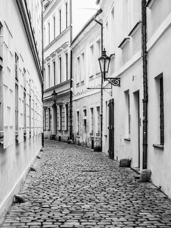 blackandwhite: Alley in the old town of Prague, Czech Republic, in monochrome
