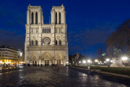 sacral: Cathedral Notre Dame in Paris, France, at night