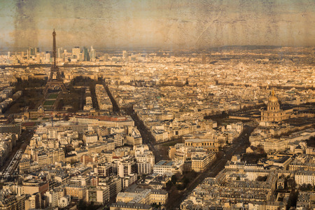 city view: Aerial view of the city Paris, France, in vintage look