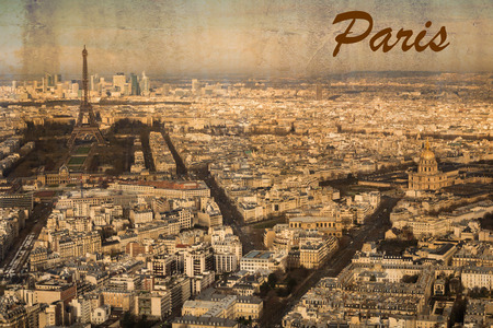 urbane: Postcard of the city Paris, France, in vintage look; aerial view with Eiffel tower Stock Photo