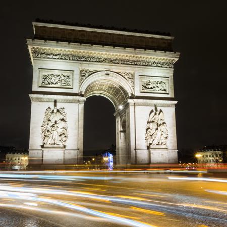 Arc de Triump at night, Paris, France Stock Photo