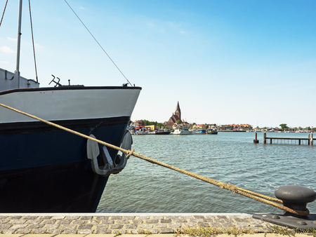 mecklenburg western pomerania: Cityscape of Barth at the bay on the  Baltic Sea with ship in the foreground