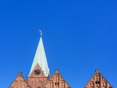 Tower and gables of the church St. Martini in the old town of Bremen, Germany