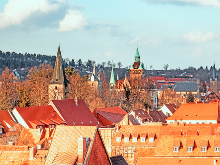 Aerial view of Quedlinburg with churches and monuments Standard-Bild - 115628958