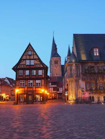 Marketplace of city Quedlinburg at blue hour