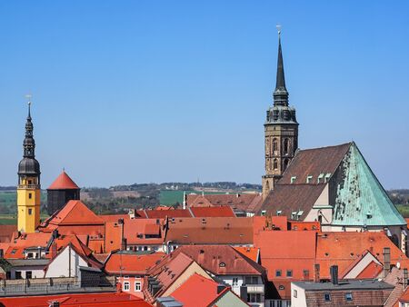 Aerial view of the city Bautzen, Saxony, Germany