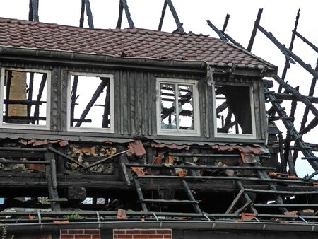Fire damage at the roof of a building