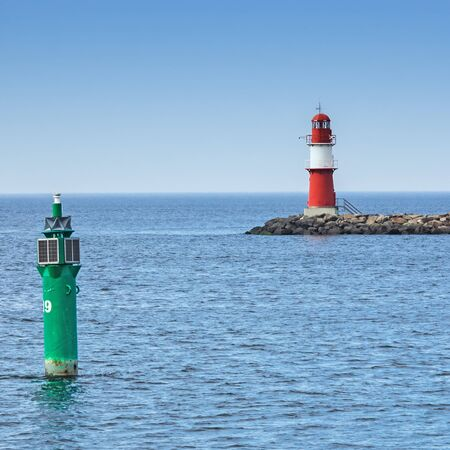 Lighthouse of the eastern pier at Rostock Warnemuende
