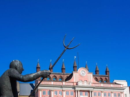 Town hall and fountain of Rostock, Germany