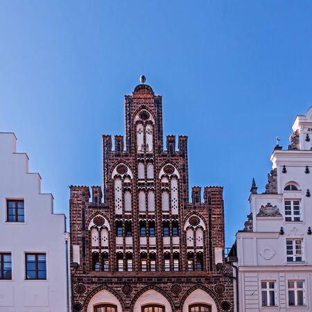 House Ratzow and other old houses in the old town of Rostock, Germany Standard-Bild