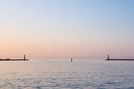 Lighthouses of  Rostock Warnemuende at twilight