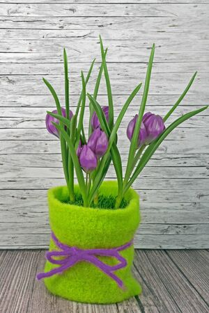 Spring lilac tulips on wooden background