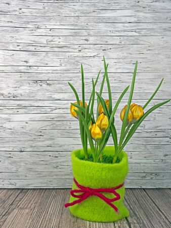 Background spring yellow tulips on wooden background