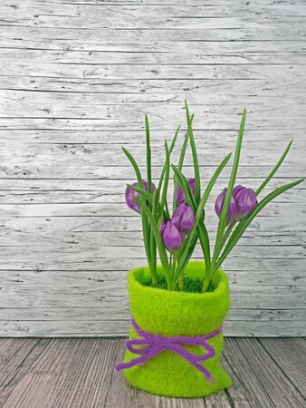 Background spring lilac tulips on wooden background