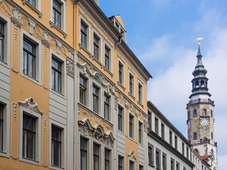 Historic buildings in the old town of city Goerlitz with town hall in the background, Saxony, Germany