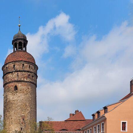 Tower Nikolaiturm in the old town of city Goerlitz, Saxony, Germany Standard-Bild