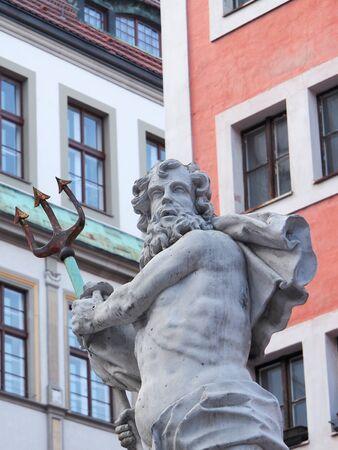 Neptune fountain at Untermarkt Goerlitz, Saxony, Germany, Europe