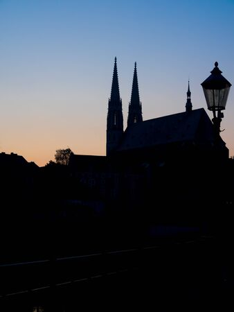 Silhouette of the Peter and Paul church of Goerlitz, Saxony, Germany, at backlight and Blue hour Standard-Bild