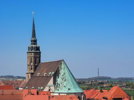 Bautzen, Saxony, Germany: aerial view of city Bautzen with the St. Peter's cathedral