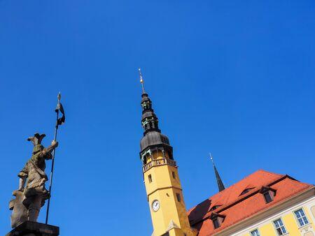 Bautzen, Saxony, Germany: town hall and market fountain Standard-Bild
