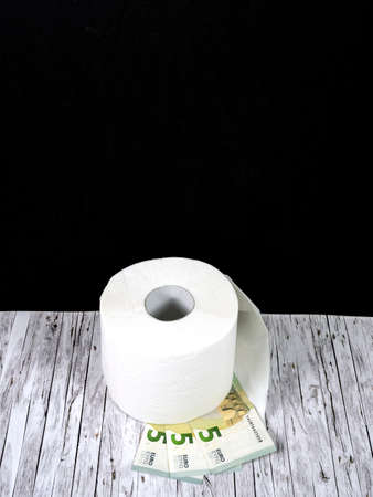 One roll of white toilet paper and three five euro notes Standard-Bild