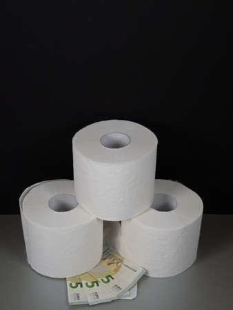 Three rolls of white toilet paper stacked atop each other and three five euro notes