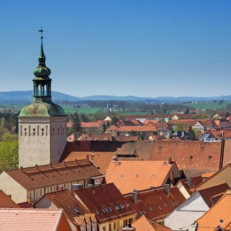 Bautzen, Saxony, Germany: aerial view of city Bautzen with historic tower
