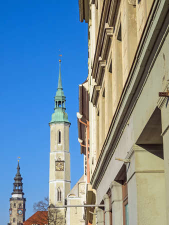 Old town of city Goerlitz, Saxony, Germany, with trinity church and town hall Standard-Bild