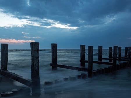 Groyne in the Baltic Sea near to Zingst, Mecklenburg-Western Pomerania, at twilight