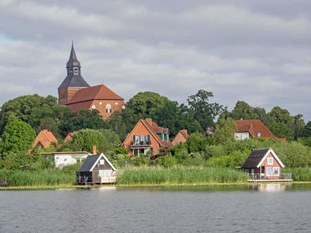 Cityscape of Sternberg with church and lake, Mecklenburg-Western Pomerania, Germany Standard-Bild