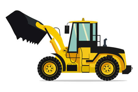 industrial truck of heavy machinery in yellow color scaler model  イラスト・ベクター素材