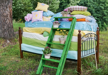 pea: Fairytale photoshoot. The Princess and the pea wedding decorations.