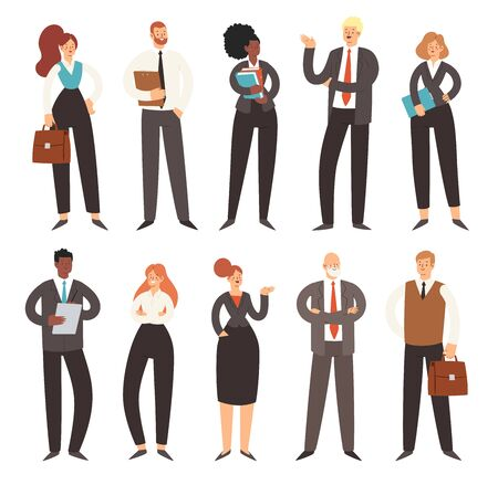 Set of business people. Businessmen and businesswomen cartoon characters. Office team, multicultural collective workers, entrepreneurs. Men and women in suits standing together.