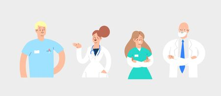 Set of various avatars male and female medicine workers. Group of hospital medical specialists standing together: doctor, surgeon, physician, paramedic, nurse, other staff. Cartoon vector characters