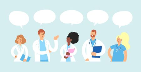Set of various male and female medicine workers with speech bubble and place for text. Group of hospital medical specialists standing together and lead a discussion: doctors, nurses and other staff