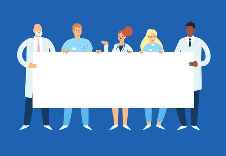 Set of various male and female medicine workers holding an empty blank banner with copy space for text. Group of hospital medical specialists standing together: doctors, medics, nurses and other staff