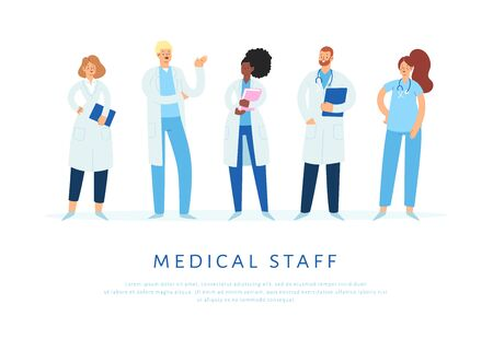 Set of various male and female medicine workers. Group of hospital medical specialists standing together: doctor, surgeon, physician, paramedic, nurse and other staff. Cartoon vector characters Vektorové ilustrace