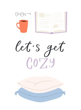 Cartoon hand drawn cozy Illustration of books with calligraphy text. Lettering  quotes and drawing object for read lovers isolated on white background. Reading motivation for design, cards, posters.