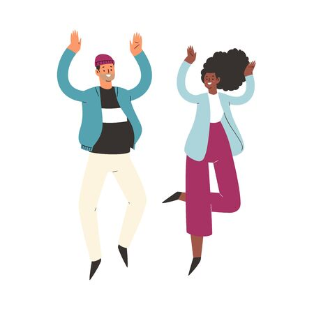 Young happy laughing couple man and woman jumping with raised hands in various poses. Joyful positive boy and girl rejoicing together, happiness, freedom concept. Colored vector illustration