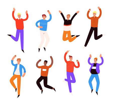 Set of young happy laughing boys jumping with raised hands in various poses. Joyful positive men rejoicing together, happiness, freedom, motion concept. Colored vector illustration.