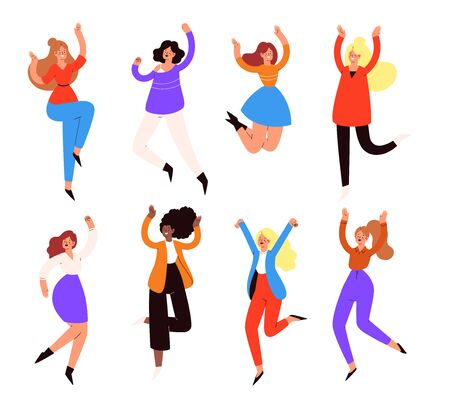 Set of young happy laughing women jumping with raised hands in various poses. Joyful positive girls rejoicing together, happiness, freedom, motivation, feminism concept. Colored vector illustration