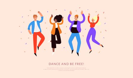Set of young happy laughing people dancing with raised hands in various poses. Joyful positive men and women jumping, rejoicing together, happiness, freedom motion concept. Colored vector illustration 向量圖像