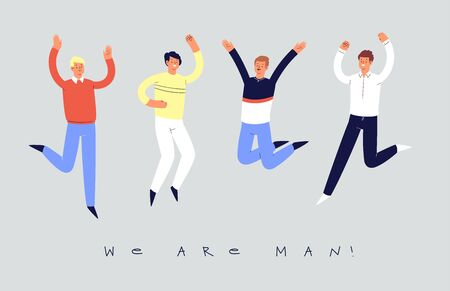 Set of young happy laughing boys jumping with raised hands in various poses. Joyful positive men rejoicing together, happiness, freedom, motion concept. Colored vector illustration with quote