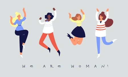 Set of young happy laughing women jumping with raised hands in various poses. Joyful positive girls rejoicing together, happiness, freedom, motivation, feminism concept. Colored vector illustration  向量圖像