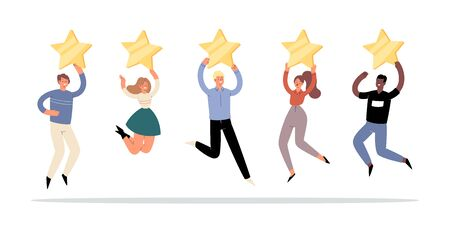 Happy people are holding 5 golden stars over the heads. Customer product or service  feedback, clients choices ratings and satisfaction review, user experience, assessment concept. Vector Illustration