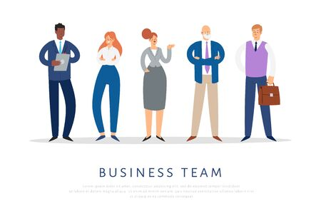 Set of business people. Businessmen and businesswomen cartoon characters. Office team, multicultural collective workers, entrepreneurs. Men and women in suits standing together. Vector illustration. Иллюстрация