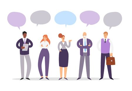 Set of business people with speech bubbles. Businessmen and businesswomen cartoon characters group chat. Office team, multicultural collective workers, entrepreneurs in suits standing together.