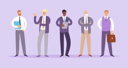 Set of business people. Businessmen cartoon characters. Office team, multicultural collective workers, entrepreneurs. Men in suits standing together. Vector illustration Vectores