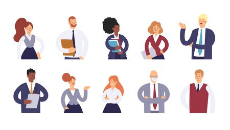 Set of business people. Businessmen and businesswomen cartoon characters. Office team, mix race collective workers, entrepreneurs. Men and women in suits standing together. Vector illustration.